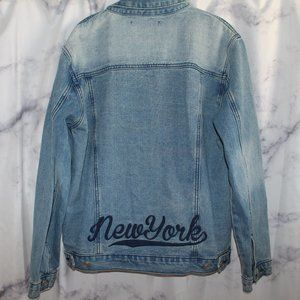 """Forever 21 """"New York"""" Embroidered Jean Jacket"""
